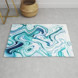 Liquid Marble - aqua & blues Rug