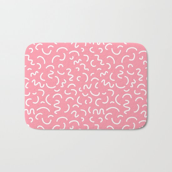 1980s Abstract memphis pattern trendy modern pattern print pink black and blue Bath Mat