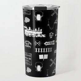 Railroad Symbols on Black Travel Mug