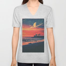 A Fax From the Beach Unisex V-Neck