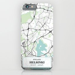 Helsinki, Finland City Map with GPS Coordinates iPhone Case