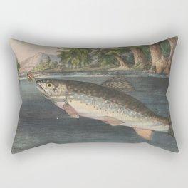Vintage River Fishing Illustration (1874) Rectangular Pillow