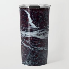 Black marble with white vains marble print luxuous real rock marble surface texture Travel Mug