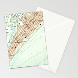 Vintage Map of Wildwood NJ (1955) Stationery Cards