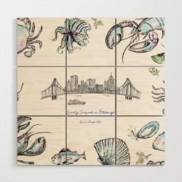Lovely Seafood in Pittsburgh Wood Wall Art