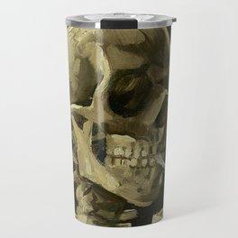 SKULL OF A SKELETON WITH BURNING CIGARETTE - VINCENT VAN GOGH Travel Mug