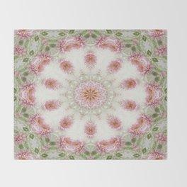 Pink Chrysanthemums Kaleidoscope Art 6 Throw Blanket
