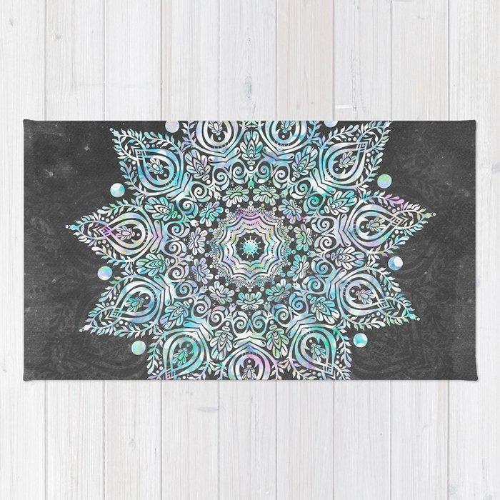 Mermaid Mandala on Deep Gray Rug