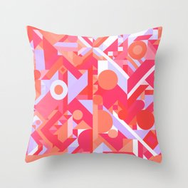 GEOMETRY SHAPES PATTERN PRINT (WARM RED LAVENDER COLOR SCHEME) Throw Pillow