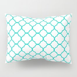 Aqua Blue Quatrefoil Clover Pattern Pillow Sham