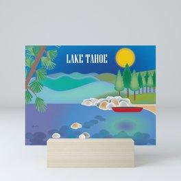 Lake Tahoe - Skyline Illustration by Loose Petals Mini Art Print