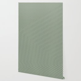 Dark Forest Green and White Check Wallpaper