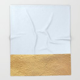Color Blocked Gold & Periwinkle Throw Blanket