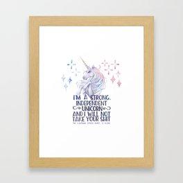 I am a strong independent unicorn - The lightning struck heart Framed Art Print
