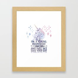 I am a strong independent unicorn - The lightning struck heart Framed Art Print