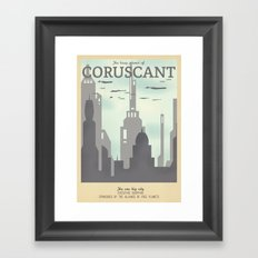 Retro Travel Poster Series - Star Wars - Coruscant Framed Art Print