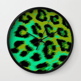 Aqua and Apple Green Leopard Spots Wall Clock
