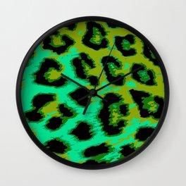 Aqua and Apple Green Leopard Spots Wall Clock