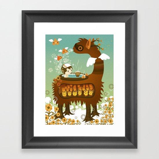 Llama Bath Framed Art Print