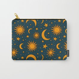 Vintage Sun and Star Print in Navy Carry-All Pouch