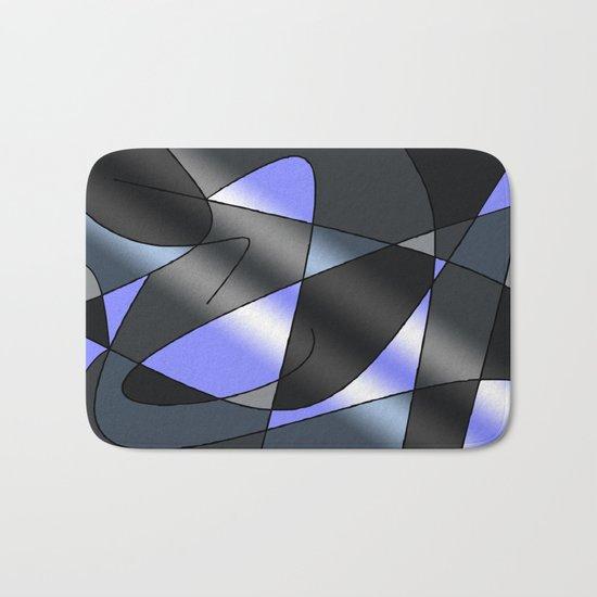 ABSTRACT CURVES #2 (Greys & Light Blue) Bath Mat