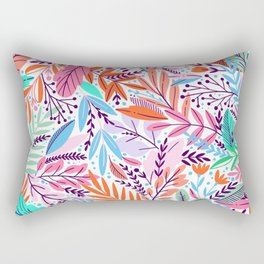 Abstract colorful girly color tones floral leaves illustration Rectangular Pillow