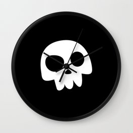Skull Head logo with Three Teeth | Bones, white, pirates, symbolism, mortality, death, Halloween Wall Clock