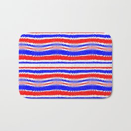 Red White Blue Waving Lines Bath Mat
