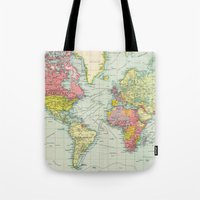 political Tote Bags featuring Vintage Political Map of The World (1922) by BravuraMedia