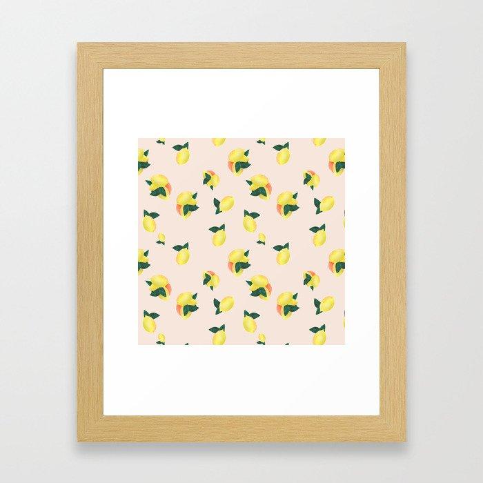Lemons and Oranges - Pink Framed Art Print