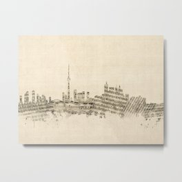 Toronto Canada Skyline Sheet Music Cityscape Metal Print