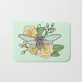 Cicada with Roses - Mint Bath Mat