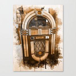 Wurlitzer Jukebox Digital Watercolor Canvas Print