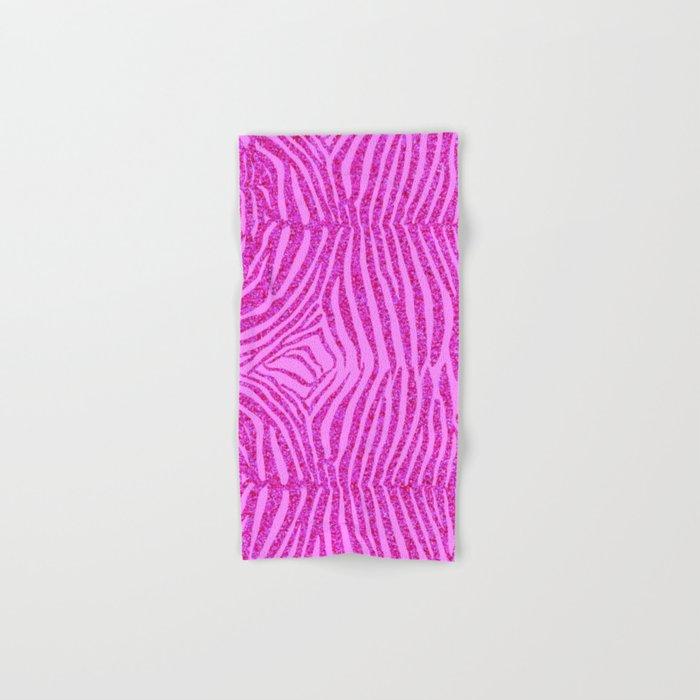 Light Pink Glitter Zebra Print Hand & Bath Towel