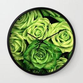 Green Roses Wall Clock