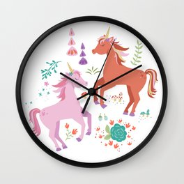 Pink and Coral Unicorns Wall Clock