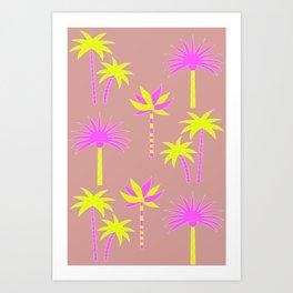 Palm Trees - Neutral & Neon Art Print