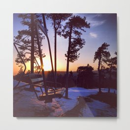 The Sunset Chair Metal Print