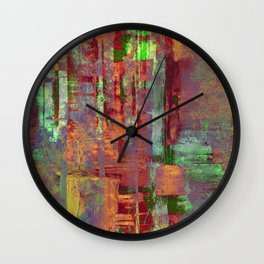 Overexposed - Abstract, textured painting in brown, orange and green Wall Clock