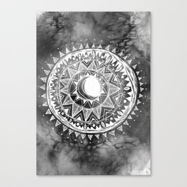 Grey Moon Mandala Canvas Print
