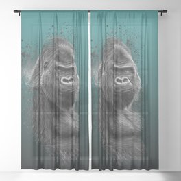 Silverback Gorilla Portrait Sheer Curtain
