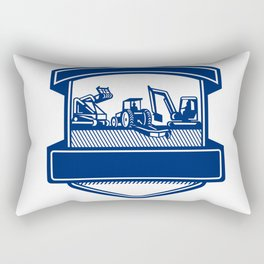 Mulching Bush Hogging Excavation Services Badge Rectangular Pillow