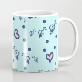 duck family blue pink hearts pattern Coffee Mug