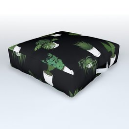 Houseplants Illustration (black background) Outdoor Floor Cushion