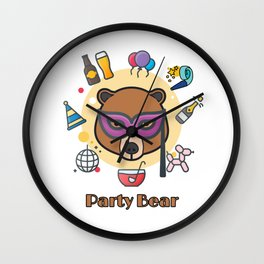 Party bear Wall Clock