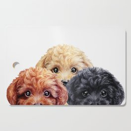 Toy poodle trio, Dog illustration original painting print Cutting Board