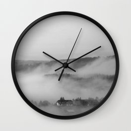 Landscape with fog Wall Clock