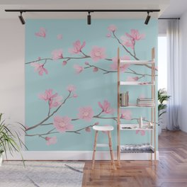 Square - Cherry Blossom - Duck Egg Blue Wall Mural