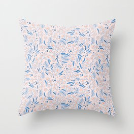 Pink Flower Confetti Throw Pillow