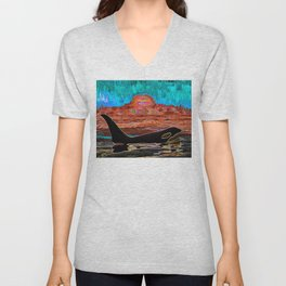 Orca Sunset Unisex V-Neck